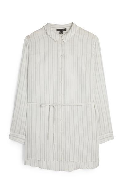 Camicia avorio a righe con cintura
