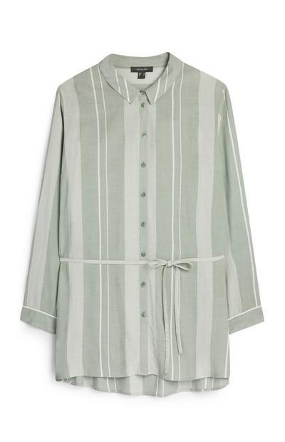 Zeleno-bela črtasta srajca s pasom
