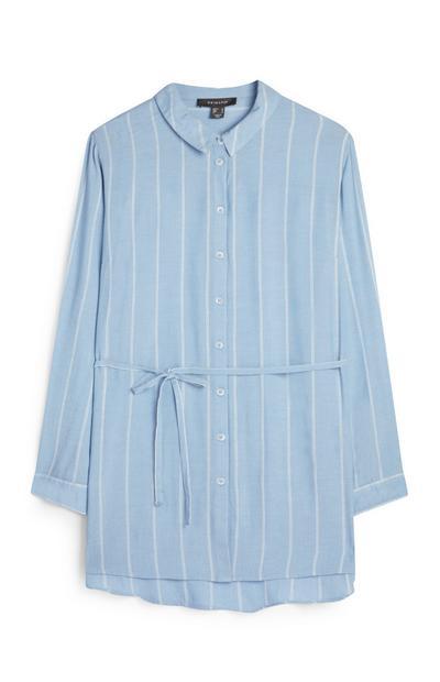 Blauw-wit gestreepte blouse met riem
