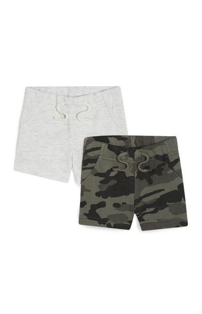 Grijze en camouflage babyshorts voor jongens, 2 st.