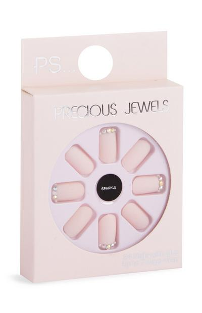 Faux ongles autocollants rose pailleté à strass