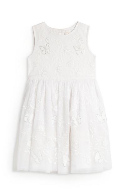 Younger Girl White Floral Butterfly Dress