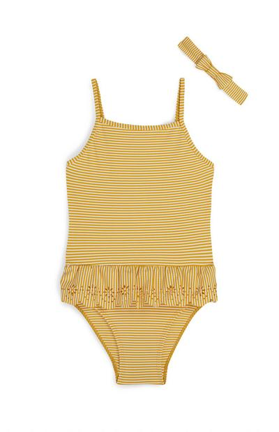 Older Girl Yellow Seersucker Swimsuit And Headband