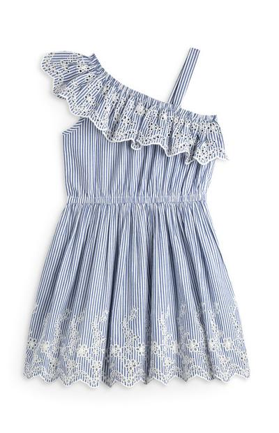 Younger Girl Blue Embroidered One Shoulder Dress