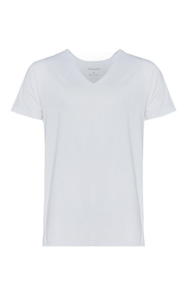 Weiße Baselayer-T-Shirts mit Rundhalsausschnitt