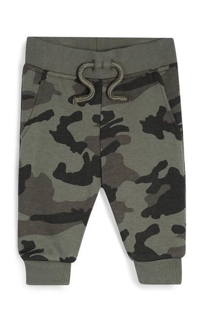 Kaki babyjoggingbroek met camouflageprint, jongens