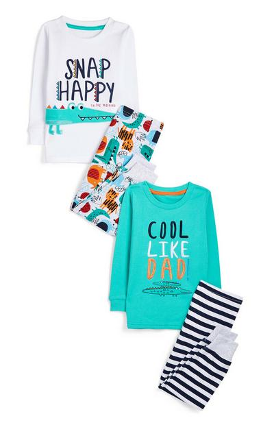 2-Pack Baby Boy Slogan Crocodile Pajama Sets