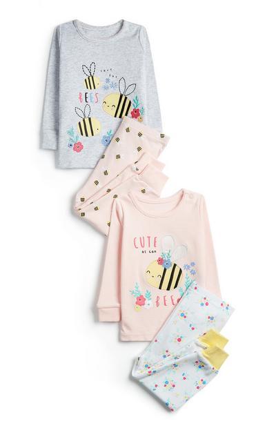 2-Pack Baby Girl Bumble Bee Print Pajama Sets