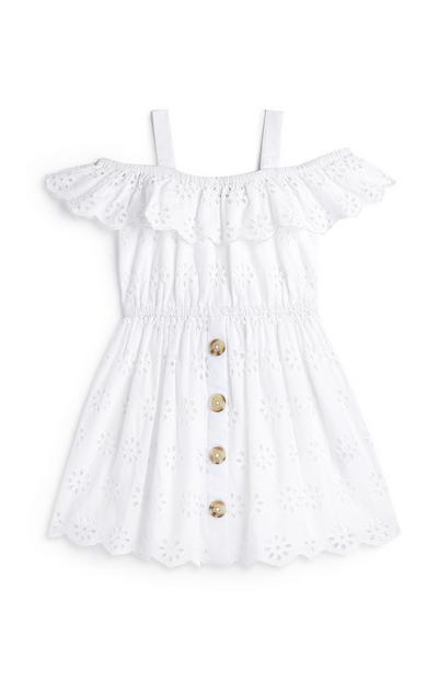 Younger Girl White Embroidered Bardot Dress