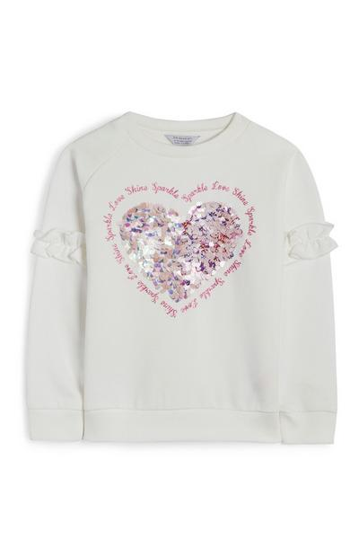 Younger Girl Cream Sequin Love Heart Jumper