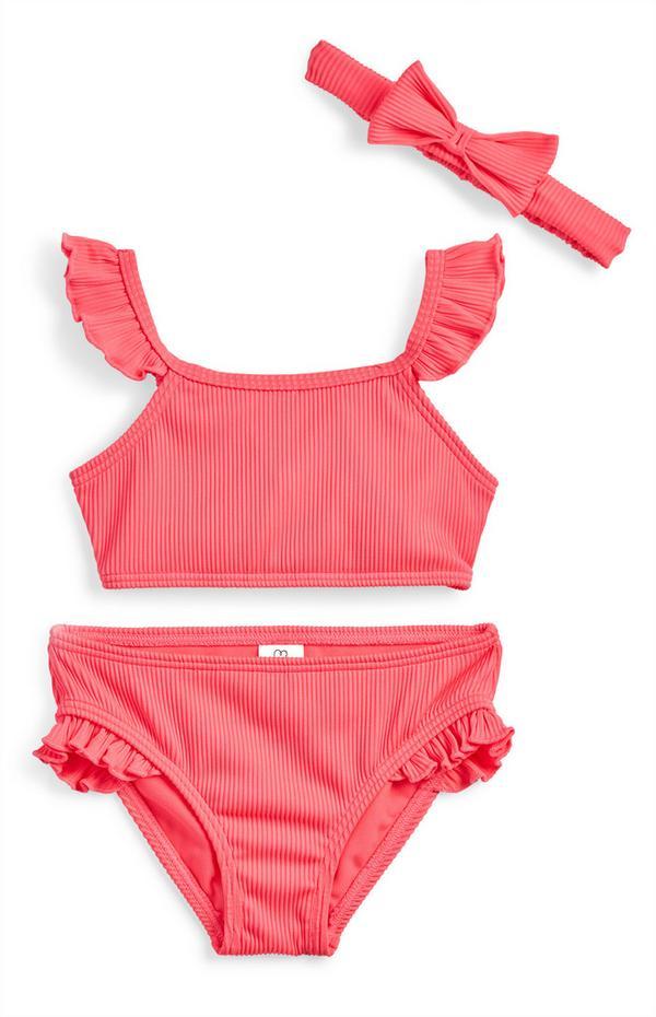 Younger Girl Pink Ribbed Bikini With Hairband