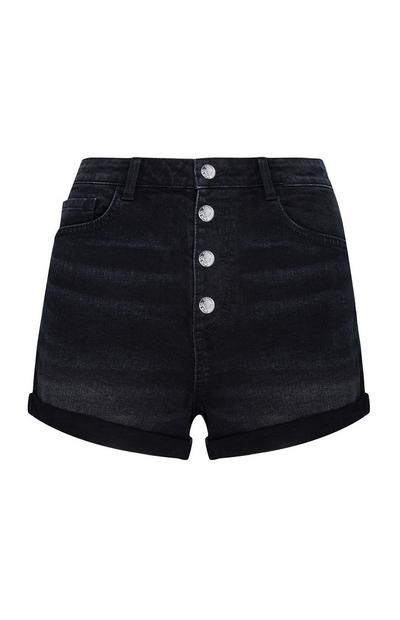 Black Exposed Button Shorts