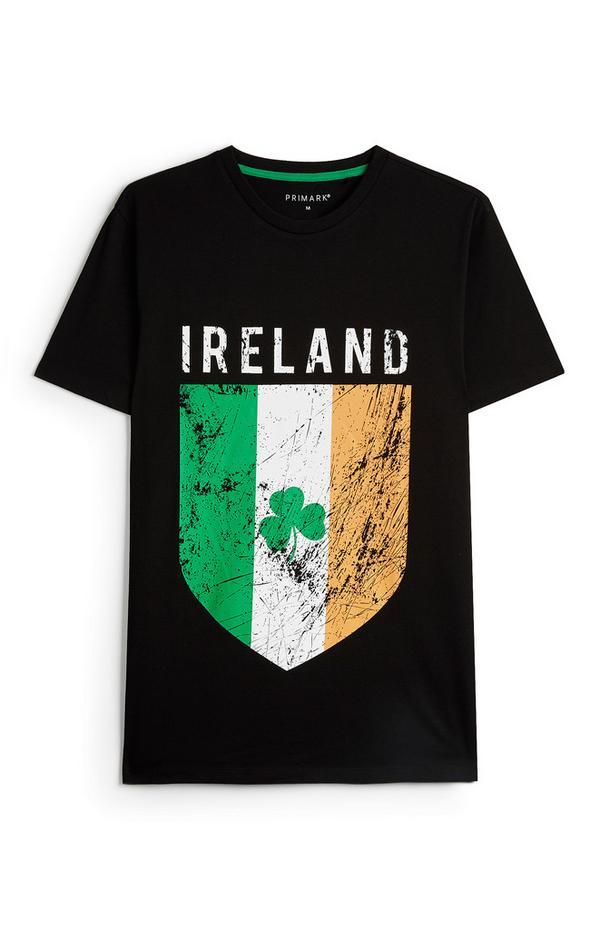 St Patricks Day Black Irish Flag T-Shirt