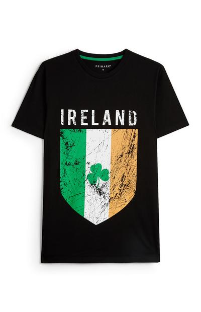 Black Ireland Flag Shield T-Shirt