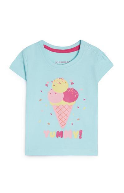 T-shirt bleu à imprimé glace bébé fille