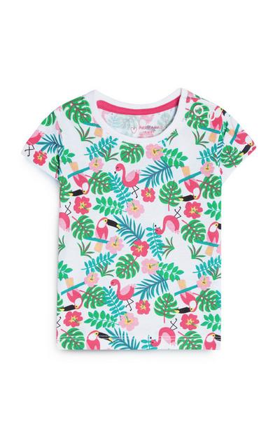 Baby Girl White Flamingo Print T-Shirt