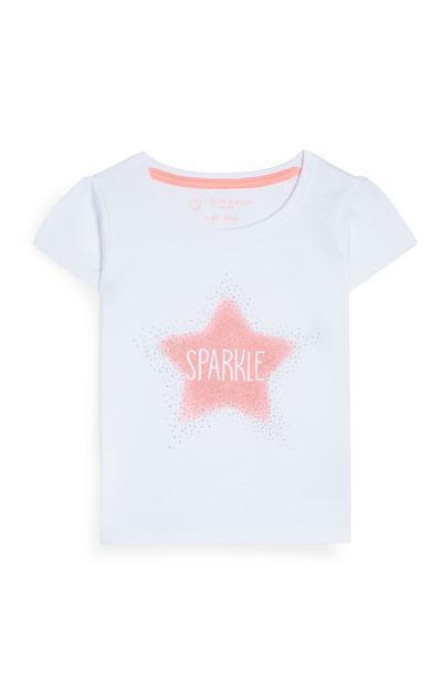 T-shirt blanc à imprimé étoile bébé fille