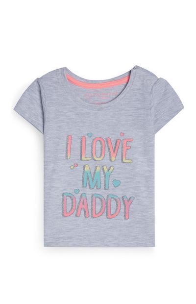 Grijs baby-T-shirt I Love My Daddy, meisjes