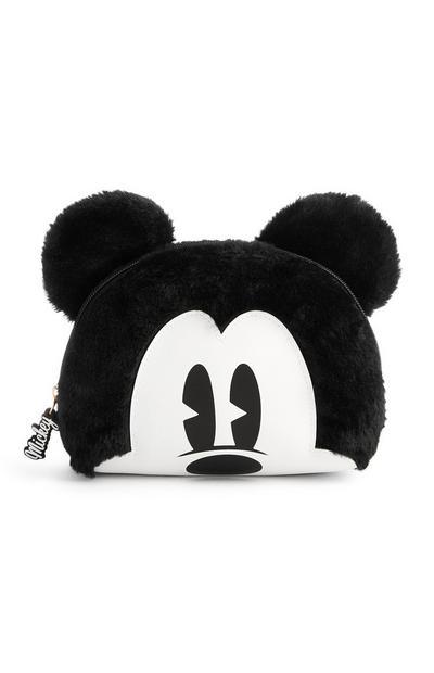 Trousse de maquillage duveteuse Mickey Mouse noir et blanc