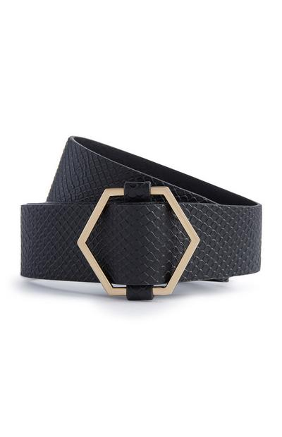 Black Chunky Hexagon Belt