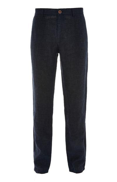 Donkerblauwe linnen broek