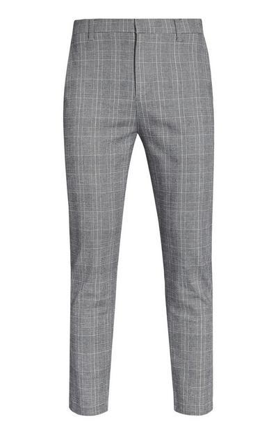 Pantaloni grigio chiaro a quadri