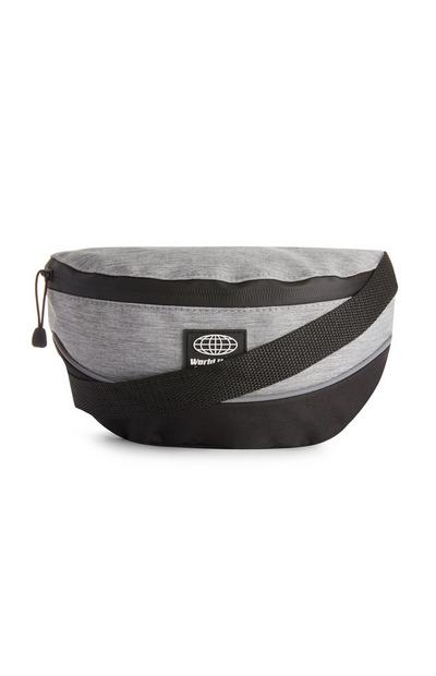 Black and Grey Colour Block Bum Bag