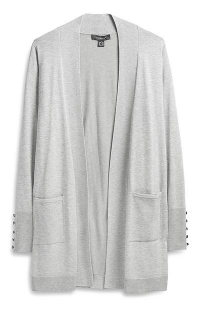 Light Grey Loose Cardigan With Pockets