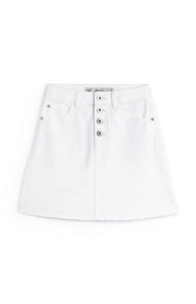 Older Girl White Buttoned Denim Skirt