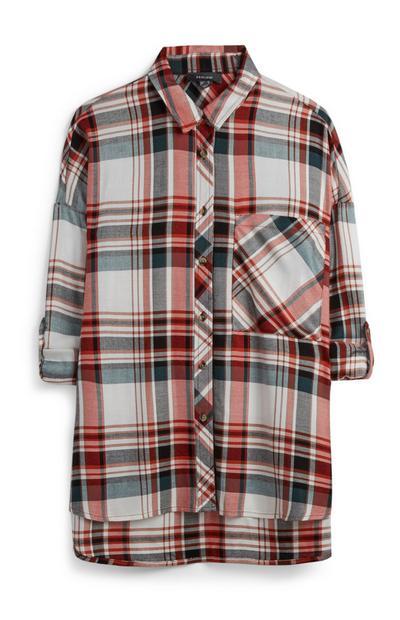 Grijs-rood geruit overhemd met borstzakje