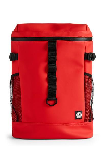 Mochila roja con varios bolsillos