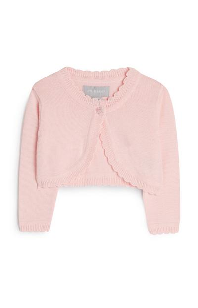 Cardigan court rose bébé fille