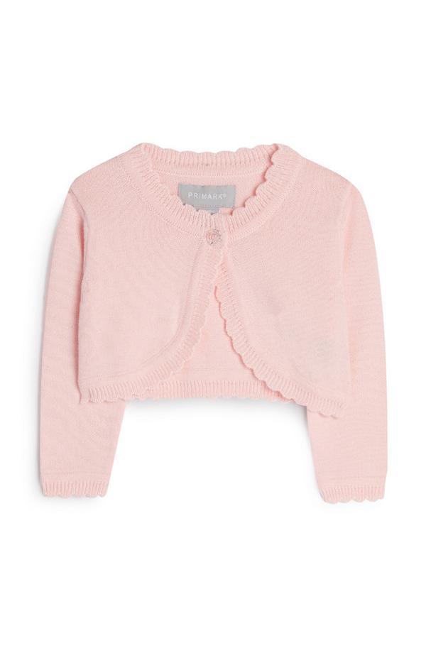Baby Girl Pink Cropped Cardigan