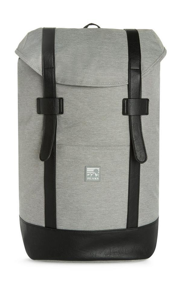 Grande sac à dos gris style sacoche