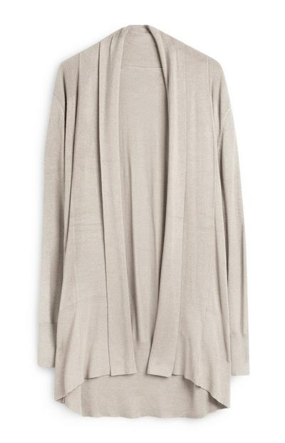 Beige Loose Waterfall Cardigan