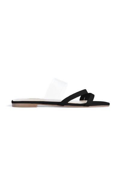 Black Stappy Perspex Sandals