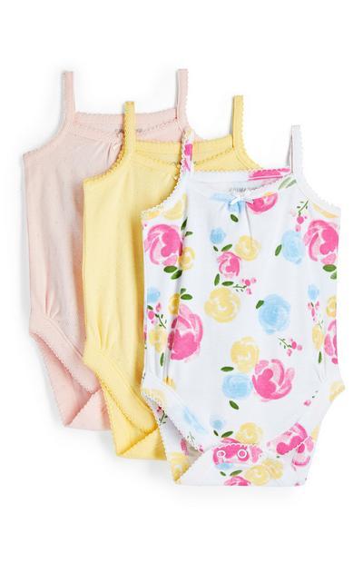 Newborn Baby Girl Floral Camisole Bodysuit 3 Pack