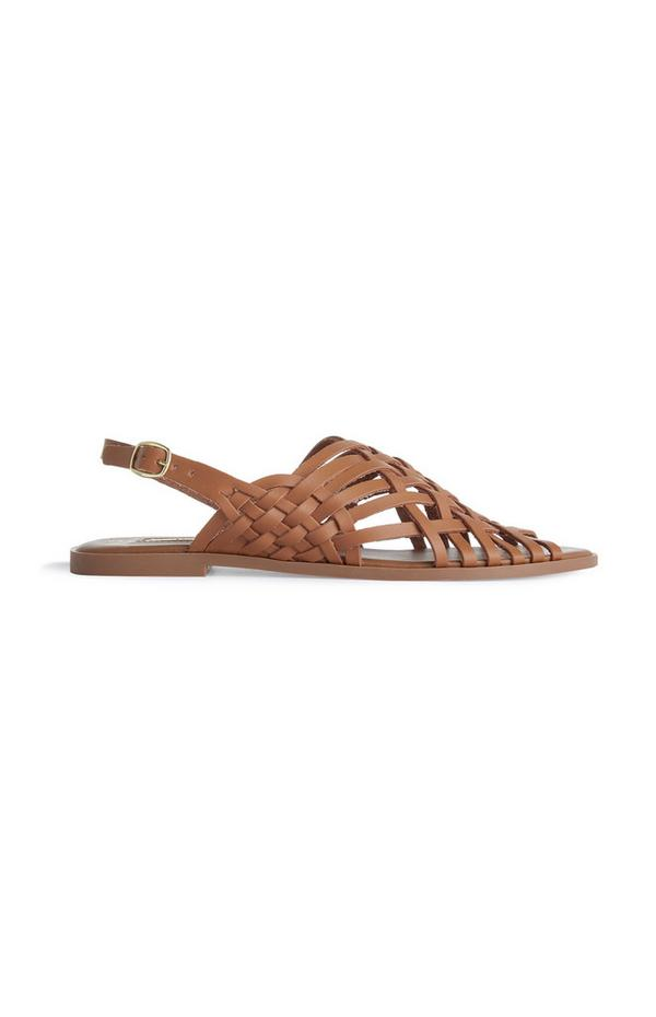Tan Strappy Gladiator-style Sandals