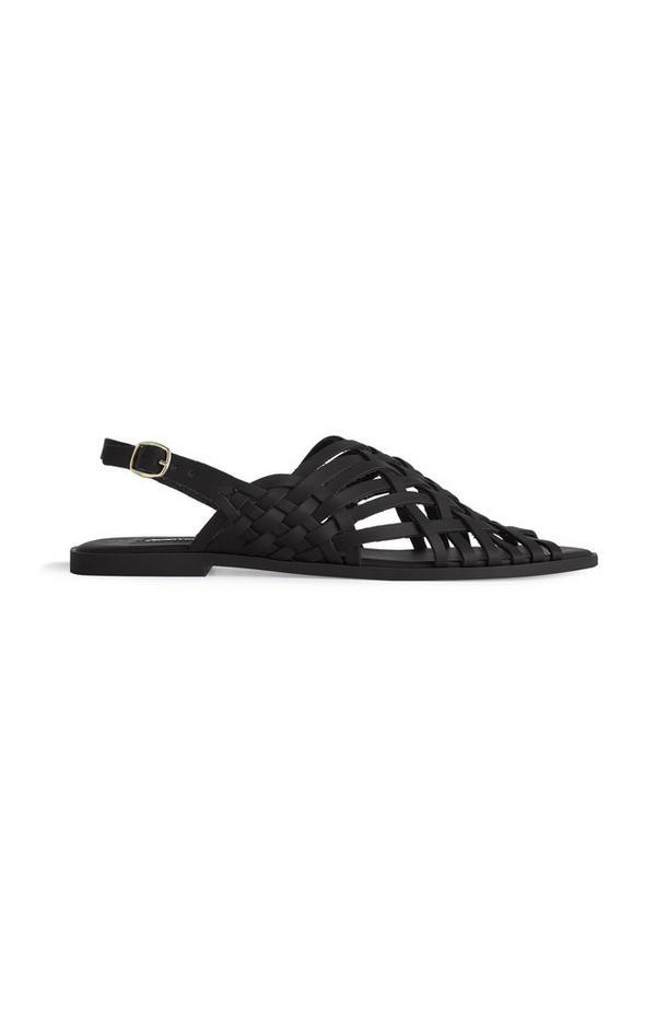 Black Strappy Gladiator-style Sandals