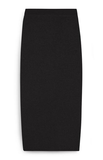 Gebreide halflange zwarte rok