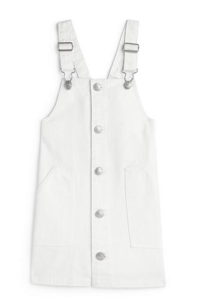 Younger Girl White Pinafore Dress