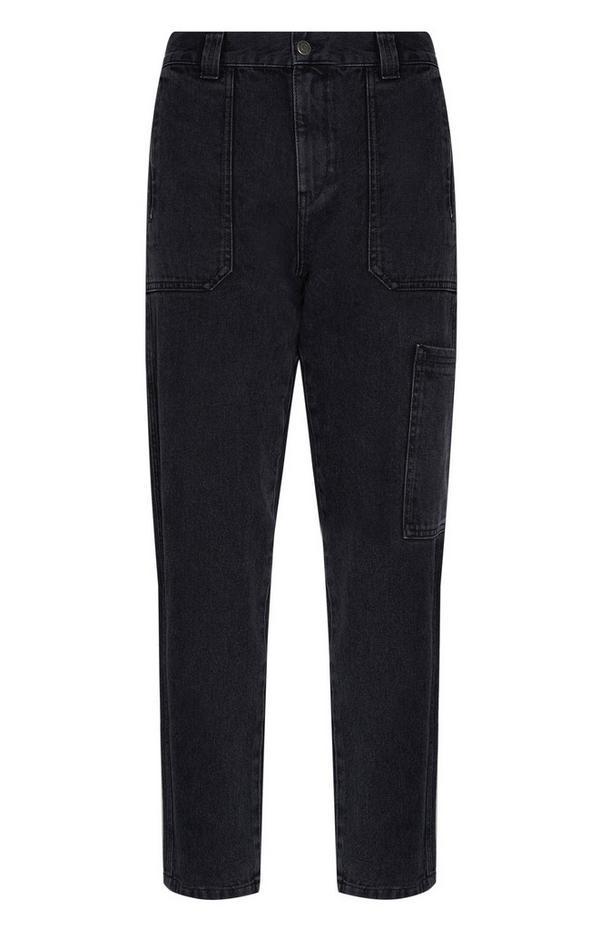 Pantalon cargo en denim noir