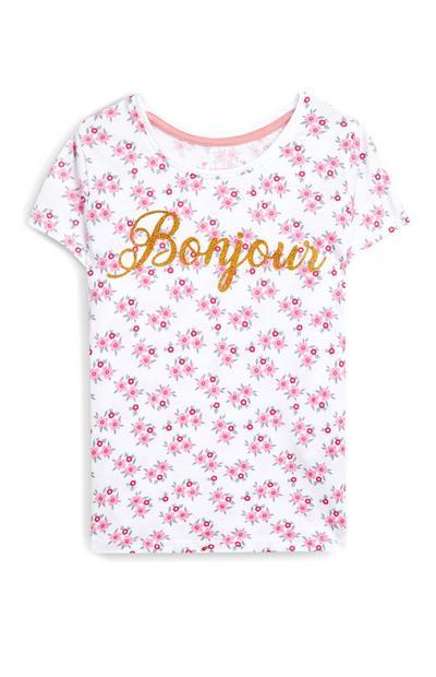 T-shirt rosa floreale con scritta Bonjour da bambina