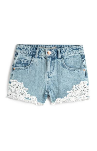 Younger Girl Denim Crochet Shorts
