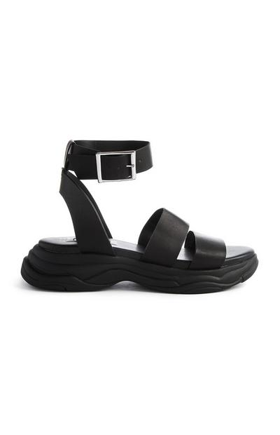 Black Sporty Chunky Sandals