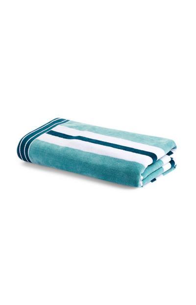 Groen-blauw gestreept strandlaken