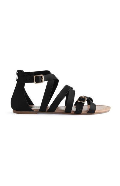 Črne gladiatorske sandale z zaponko