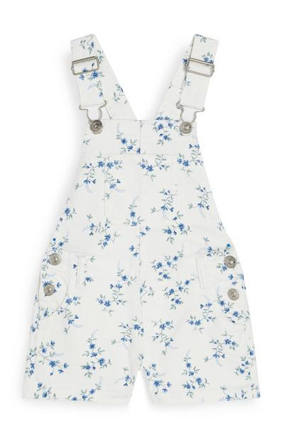 Younger Girl Floral Dungarees