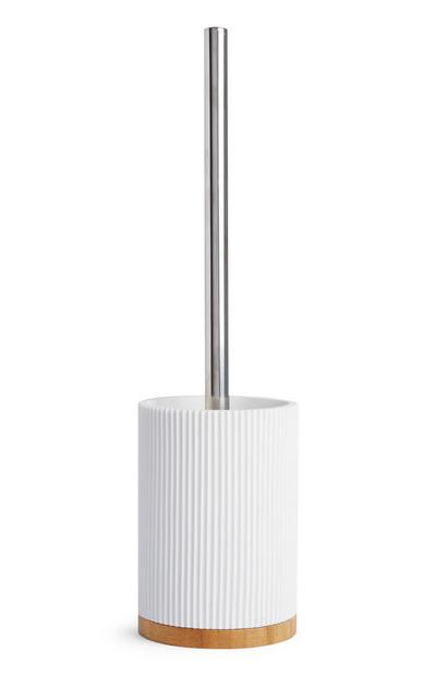 White Ribbed Toilet Brush