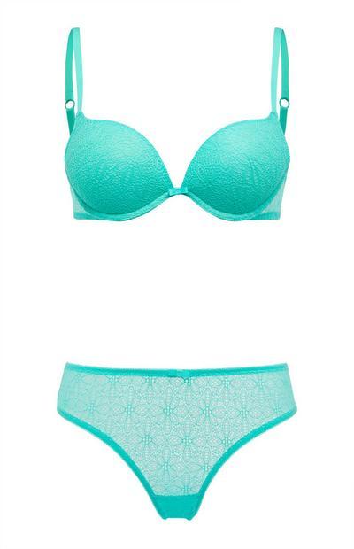 Turquoise lingeriesetje van kantwerk